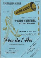 Aviation - Programme Du Meeting De Lausanne - 1937 - Programs