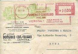 30791 Italia, Red Meter Freistempel Ema, Verona 1950 Molini Domenico Consolaro, Mills  Moulins - Affrancature Meccaniche Rosse (EMA)