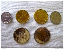 Ethiopia: Set 1,5,10,25,50 Santeem, 1 Birr (bimetallic) UNC - Ethiopie