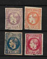 Rumania 1868-70 Principe Carlos Sin Barba Sin Dentar Serie Completa - 1858-1880 Moldavia & Principado
