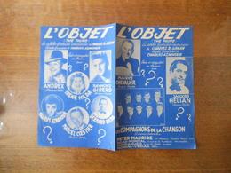 L'OBJET (THE KING) MAURICE CHEVALIER LES COMPAGNONS DE LA CHANSON PAROLES FRANCAISES DE CHARLES AZNAVOUR 1950 - Partitions Musicales Anciennes