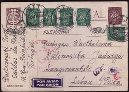 1944, Portugal, Postal Stationery Censor 7109, From Lisboa To Lubon/Poznan Wartheland - Guerre Mondiale (Seconde)