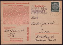 Postcard From Buchenwald To Posen, Konzentrationslager, Concentration Camp. Cancelation II Krigs Whw, - WW2