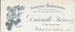 33 - Bordeaux - Facture Du 25 Septembre 1901 - Liqueurs Supérieures Dureuille Frères - Fruits Sirops & Caramels - Factures