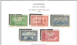 Nicaragua PA 1939 Will Rogers On Managua  Scott.C236/240+  Used See Scans On Scott.Album - Nicaragua