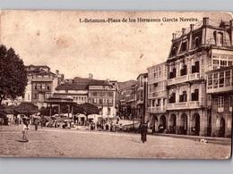 BETANZOS 2 Postales Con Animación C. 1918 Vista Parcial + Plaza De Los Hermanos García Naveira - La Coruña