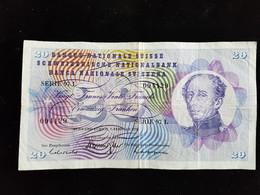 Billet De 20 Francs Suisse ;1974 Serie 97 L - Suiza