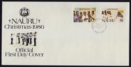 Ca0074 NAURU 1986, SG 344-5  Christmas,  FDC - Nauru