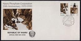 Ca0077 NAURU 1990, SG383-4 20th Anniv Nauru Phosphate Corporation,  FDC - Nauru