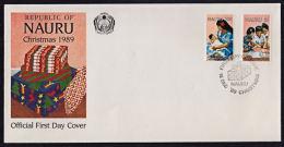 Ca0078 NAURU 1989, SG 377-8  Christmas,  FDC - Nauru