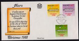 Ca0080 NAURU 1988, Sg 370-2 Christmas,  FDC - Nauru
