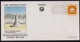 Ca0084 NAURU 1987, SG 355 Centenary Nauru Congregational Church,  FDC - Nauru