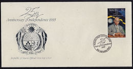 Ca0087 NAURU 1993,  SG 407  25th Anniv Independence,  FDC - Nauru