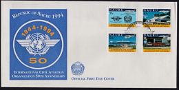 Ca0101 NAURU 1994, SG 424-7  50th Anniv Intl Civil Aviation Organisation,  FDC - Nauru