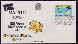 Ca5002 NAURU 1988, SG 369 Centenary Nauru's Membership Of UPU,  FDC - Nauru