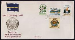 Ca5005 NAURU 1988, SG 358-61  20th Anniv Independence,  FDC - Nauru