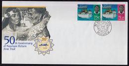 Ca5019 NAURU 1946, SG 448-9  50th Anniv Nauruan's Return From Truk,  FDC - Nauru