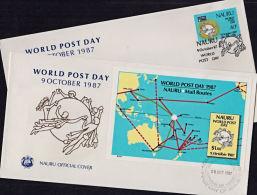 Cb5002 NAURU 1987, SG 353-MS354 World Post Day,  FDC - Nauru