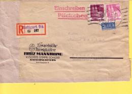 GERMANIA - OCCUPAZIONE ANGLO AMERICANA  1949 - FRAMMENTO DI RACCOMANDATA -  VIAGGIATA  DA STUTTGARD PER  TRIER - Zone Anglo-Américaine