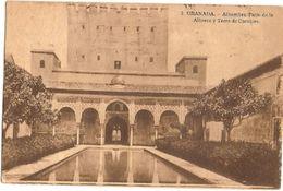 Spain & Circulated,  Granada, Alhambra, Patio De Alberca Y Torre De Comares, Sevilha, Lisboa  1947 (2) - Monuments