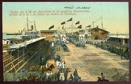 313 - GREECE/ Macedonia Thessaloniki/ Salonika 1910s Sultal Arrival In Port. Military Celebration. Steamer - Grèce