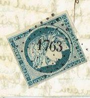 NIEVRE 58 LORMES LAC Du 21/03/1852 Tad 15 + PC 1763 Sur N°4 TB - 1849-1876: Classic Period