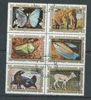 Equatorial Guinea 1976 Animals II Block Of 6 FU Butterfly Elephant - Postzegels