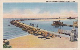 Texas Corpus Christi Breakwater Walk Curteich - Corpus Christi