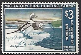 US  1967 RW34 $3 Old Squaw Ducks Used   2016 Scott Value $12   RenaM - Canards