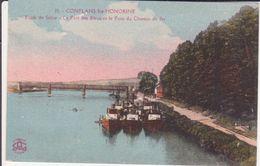 CPA - 29. Conflans Ste Honorine - Bords De Seine, Le Port Des Bleus Et Pont Du Chemin De Fe - Conflans Saint Honorine