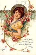[DC11555] CPA - DONNA - PERFETTA - Viaggiata 1900 - Old Postcard - Illustratori & Fotografie