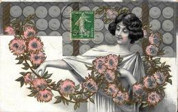 [DC11558] CPA - DONNA CON FIORI - Viaggiata - Old Postcard - Illustratori & Fotografie