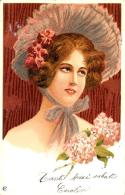 [DC11575] CPA - DONNA CON CAPPELLO FIORI - VOLTO FEMMINILE - Viaggiata 1902 - Old Postcard - Illustratori & Fotografie