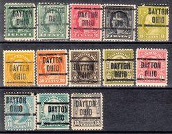 USA Precancel Vorausentwertung Preo, Locals Ohio, Dayton 204, 13 Diff. Perf. 1 X 10x10, 1 X Rotary, 11 X 11x11, - Vereinigte Staaten