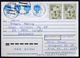 LATVIA  1992 Cards To Denmark  ( Lot 5695 ) - Lettonie