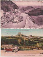 Cpa Puy-de-Dôme Lot De 2 Cartes La Route Automobile Et L'arrivée Au Sommet - Non Classificati