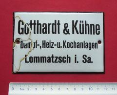 Gotthardt Kühne , Lommatzsch (Landkreis Meissen) - Old Sign - Emailschild Email Schild --- 33 - Brands