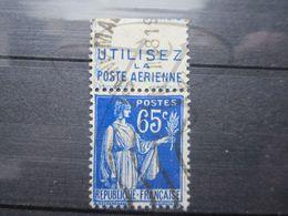"""VEND BEAU TIMBRE DE FRANCE N° 365 + BANDE PUBLICITAIRE """" POSTE AERIENNE """" !!! (b) - Publicités"""
