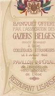 MENU 1905  EXPOSITION DE LIEGE 1905  2 FRAGMENTS DE MENU - Menus