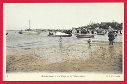 CPA Arcachon - La Plage Et Le Débarcadère - Arcachon