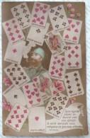 RARE LITHO BROMURE Lico ILLUSTRATEUR E.M. 373 Fantaisie A Systeme Langage Des Cartes A Jouer Bidasse Poilu Pipe - Cartes à Jouer