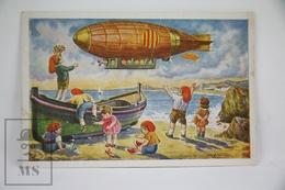 Old Illustrated Postcard - Aviation Topic - Zeppelin - Catalonia Children By I. Ferrer - Ilustradores & Fotógrafos