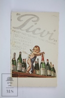 Old Illustrated Postcard - Italian Advertising - Picui Vini Italiani - Canelli Italia - Cupid Illustration - Publicidad