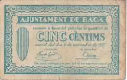 BILLETE DE 5 CENTIMOS DEL AJUNTAMENT DE BAGA DEL AÑO 1937   (BANKNOTE) - [ 2] 1931-1936 : Repubblica