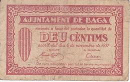 BILLETE DE 10 CENTIMOS DEL AJUNTAMENT DE BAGA DEL AÑO 1937   (BANKNOTE) - [ 2] 1931-1936 : Repubblica