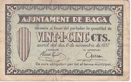 BILLETE DE 25 CENTIMOS DEL AJUNTAMENT DE BAGA DEL AÑO 1937   (BANKNOTE) - [ 2] 1931-1936 : Repubblica