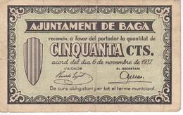 BILLETE DE 50 CENTIMOS DEL AJUNTAMENT DE BAGA DEL AÑO 1937   (BANKNOTE) - [ 2] 1931-1936 : Repubblica