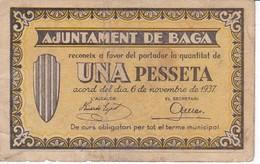 BILLETE DE 1 PESETA DEL AJUNTAMENT DE BAGA DEL AÑO 1937   (BANKNOTE) - [ 2] 1931-1936 : Repubblica