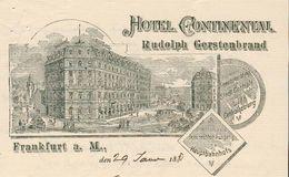 Allemagne - Frankfurt -  Lettre Illustrée Du 29 Janvier 1897 (double Pages) - Hôtel Continental.Rudolph Gerstenbrand. - Sports & Tourism