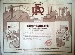 Comptabilité Et Tenue Des Livres 2ème Degré (Cadets) Académie Dactylographique De France 1959 - Diploma & School Reports